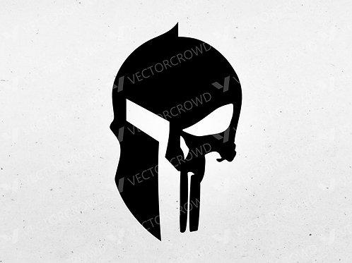 Punisher Skull Spartan Helmet Logo   SVG Vector Image