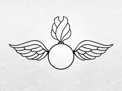 US Navy Aviation Ordnanceman AO Rating Badge | SVG Cut File | VectorCrowd