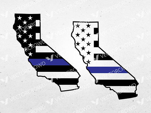 California Thin Blue Line State USA American Flag | SVG Cut