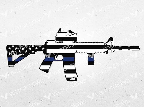 Thin Blue Line AR-15 Rifle Outline   SVG Cut File