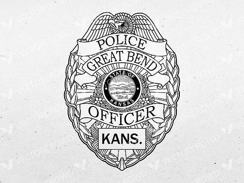 Great Bend Kansas Police Department Badge | Vector Image