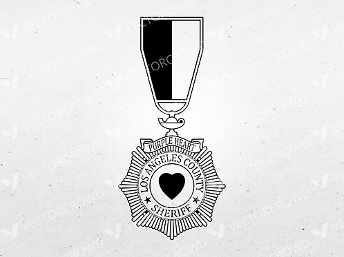 Los Angeles County CA Sheriff's Department Purple Heart | Vector Image