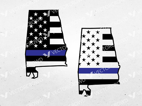 Alabama Thin Blue Line State USA American Flag | SVG Cut