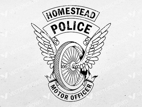 Homestead Florida Patrol Motor Officer Logo | SVG Cut File