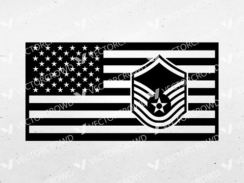 Air Force Master Sergeant Insignia American USA Flag | SVG Cut