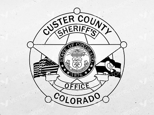 Custer County Colorado Sheriff's Office Badge   Vector Image