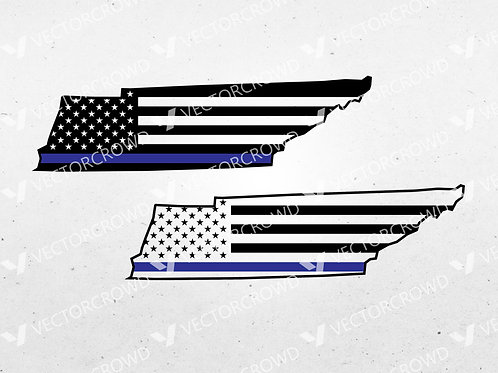 Tennessee Thin Blue Line State USA American Flag | SVG Cut