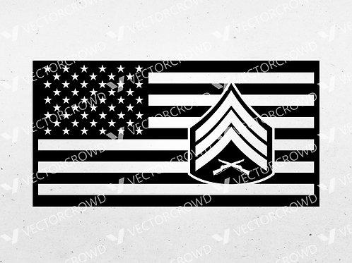 US Marines Sergeant Rank Insignia American Flag | SVG Cut