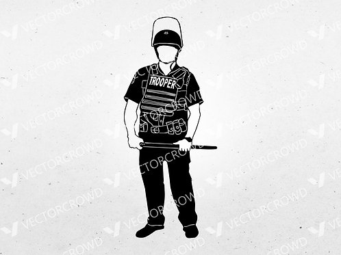 Cop #3 Policeman Standing Silhouette | SVG Cut File