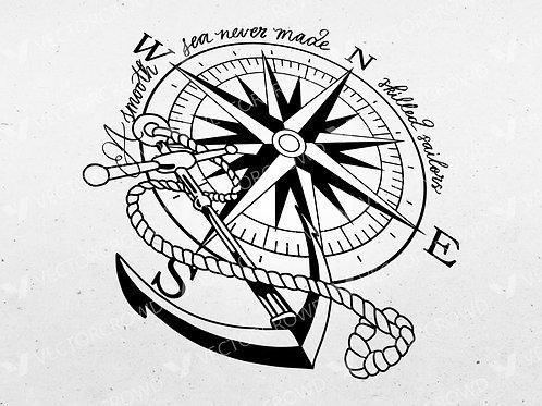 Anchor Nautical Compass Rose | VectorCrowd