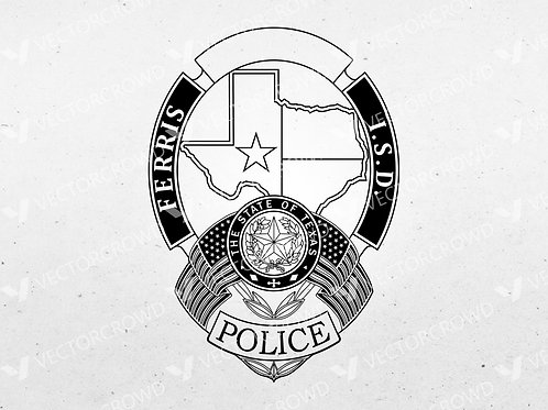 Ferris ISD Texas Police Officer Badge | Vector Image