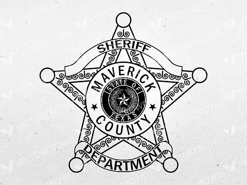 Maverick County Texas Sheriff Department Badge   VectorCrowd