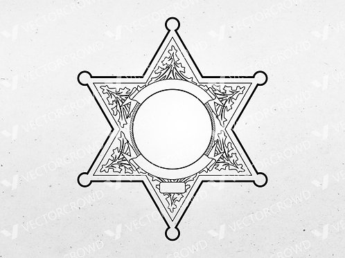 Blank Police Sheriff's Badge Version 4   Vector Images   VectorCrowd