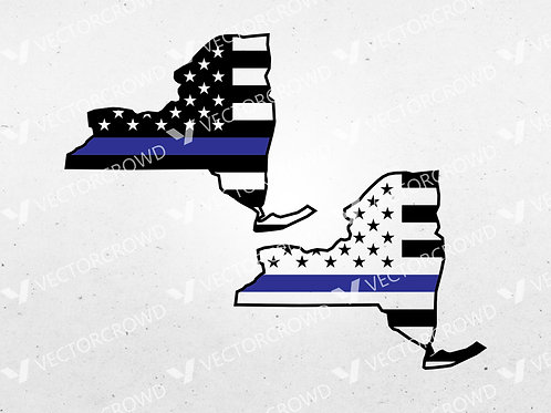 New York Thin Blue Line State USA American Flag | SVG Cut