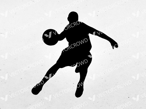 Basketball Player #3 Dribbling Silhouette | SVG Cut File