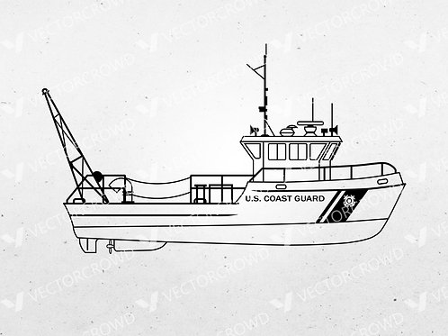 USCG 49' BUSL Side Profile Outline | Vector Images | VectorCrowd