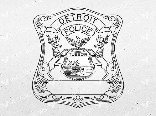 Detroit Michigan Police Department Badge | Vector Image