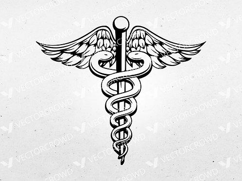 Nurse Caduceus Snake on Pole   SVG Cut File