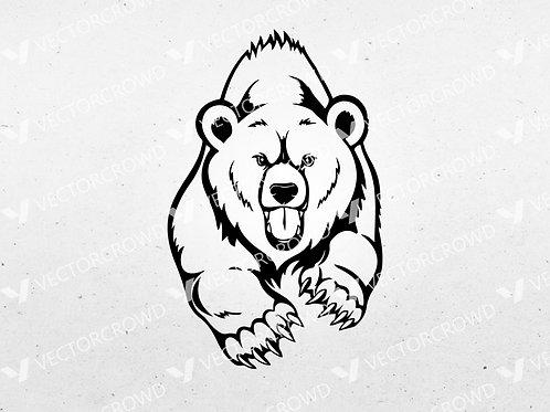 Angry Charging Bear | SVG Cut File