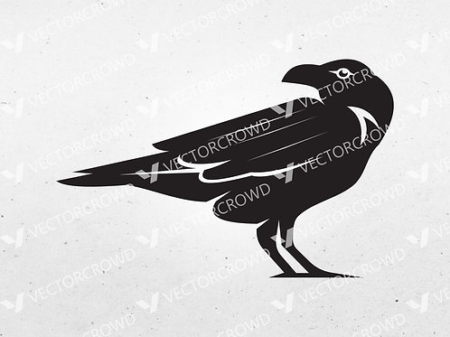 Crow Raven Black Bird Silhouette | Vector Image | VectorCrowd
