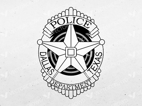 Dallas Texas Police Department Officer Badge | Vector Image