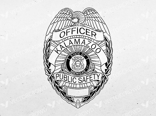 City of Kalamazoo Michigan Public Safety Badge | Vector Image