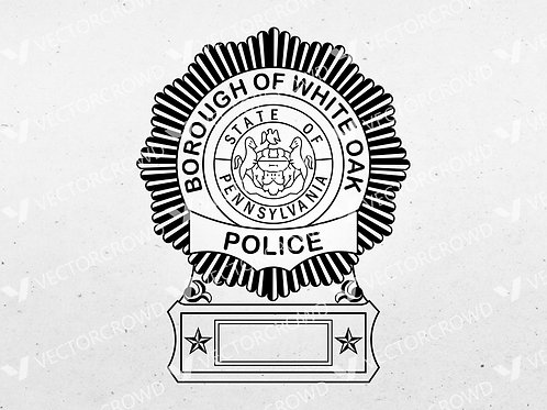 Borough of White Oak PA Police Officer Badge | Vector Images