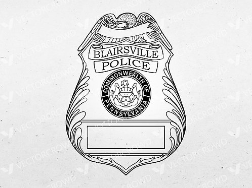 Blairsville PA Police Officer Badge   Vector Image