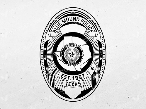 Blue Mound Texas Police Department Badge   Vector Images   VectorCrowd