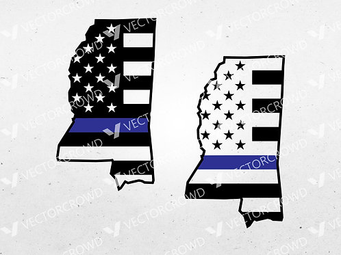 Mississippi Thin Blue Line State USA American Flag | SVG Cut