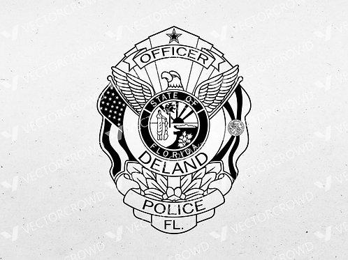 Deland Florida Police Officer Badge   Vector Image