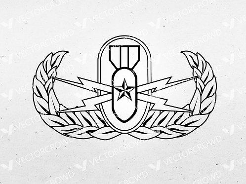 EOD Senior Badge, Explosive Ordnance Disposal Logo | SVG Cut File