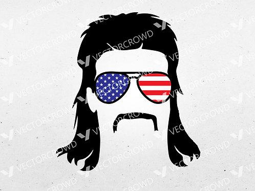 American Mullet Sunglasses Silhouette | SVG Cut File