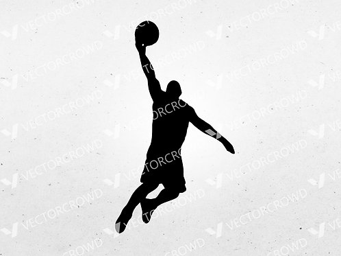 Basketball Player #1 Dunking Silhouette | SVG Cut File