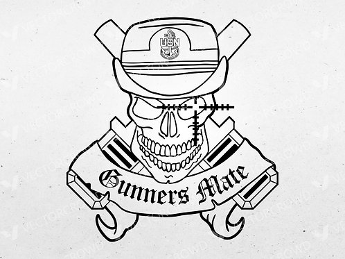 Navy Gunners Mate Female CPO Skull Crossed Cannons | SVG Cut File
