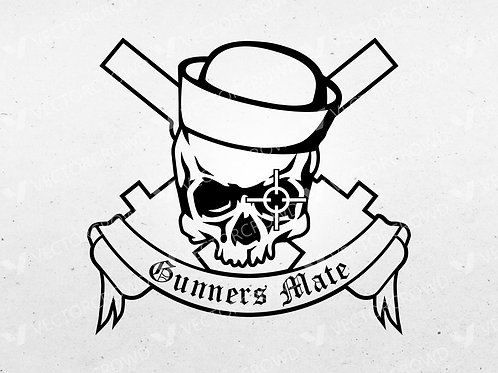 Gunners Mate Rate Skull Crossed Cannons | SVG Cut File