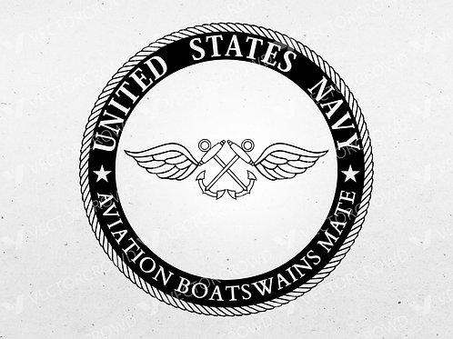 US Navy Aviation Boatswains Mate AB Rating Badge Seal | SVG Cut File | VectorCrowd