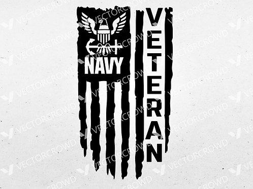 U.S. Navy Veteran Distressed USA American Flag | SVG Cut