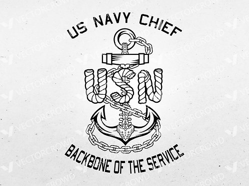 US Navy Chief Anchor Backbone Insignia   Vector Images