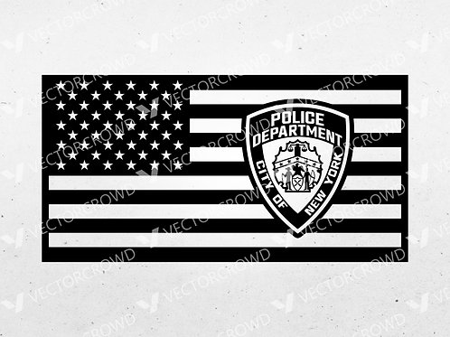 NYPD Police Patch American Flag  | SVG Vector