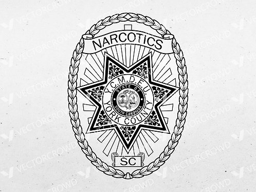 York County SC Narcotics Police Badge | VectorCrowd