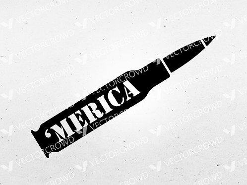 America Merica Bullet Shell Casing | SVG Cut File