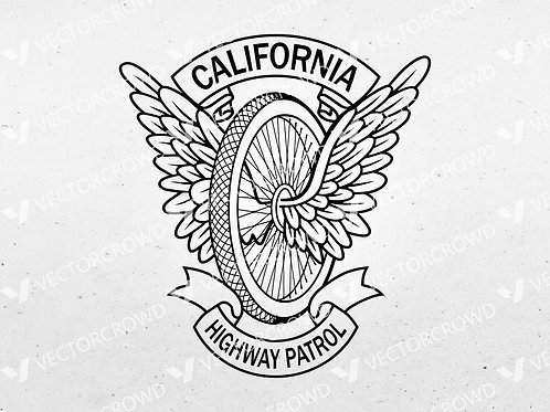 California Highway Patrol CHP Motorcycle Wings Badge   SVG Vector Image