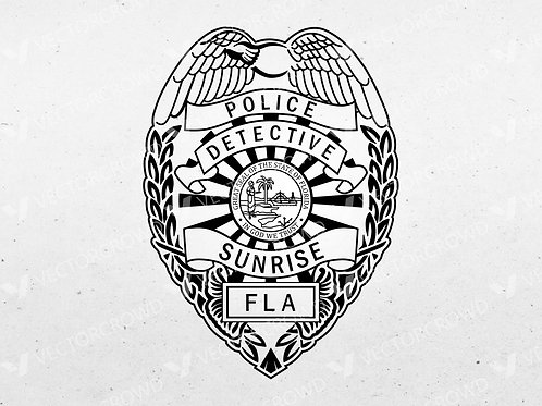 Sunrise Florida Police Detective Badge | Vector Image