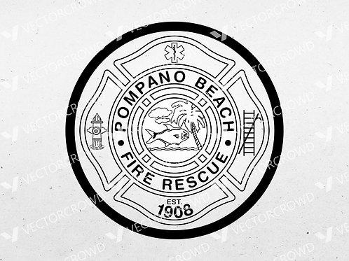 Pompano Beach FL Fire Department Emblem   SVG Vector Image