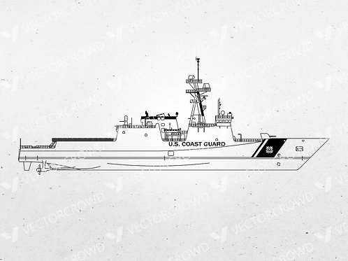 USCG WMSL National Security Cutter Side Profile Outline | Vector Images | VectorCrowd