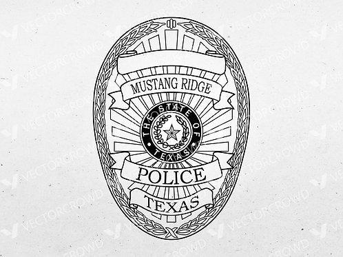 Mustang Ridge Texas Police Officer Badge | Vector Image