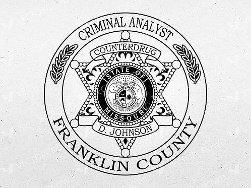 Franklin County Missouri Criminal Analyst Badge | Vector Image