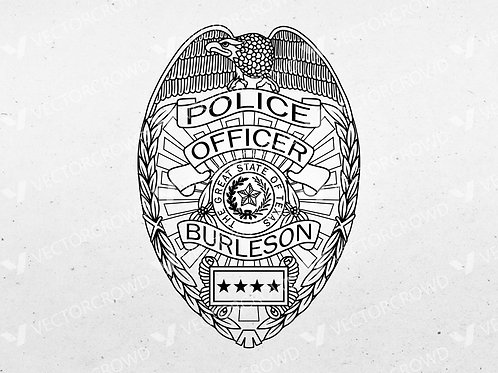 Burleson Texas Police Officer Badge | Vector Image