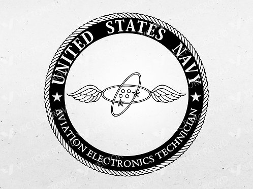 US Navy Aviation Electronics Technician AET Rating Badge Seal | SVG Cut File | VectorCrowd